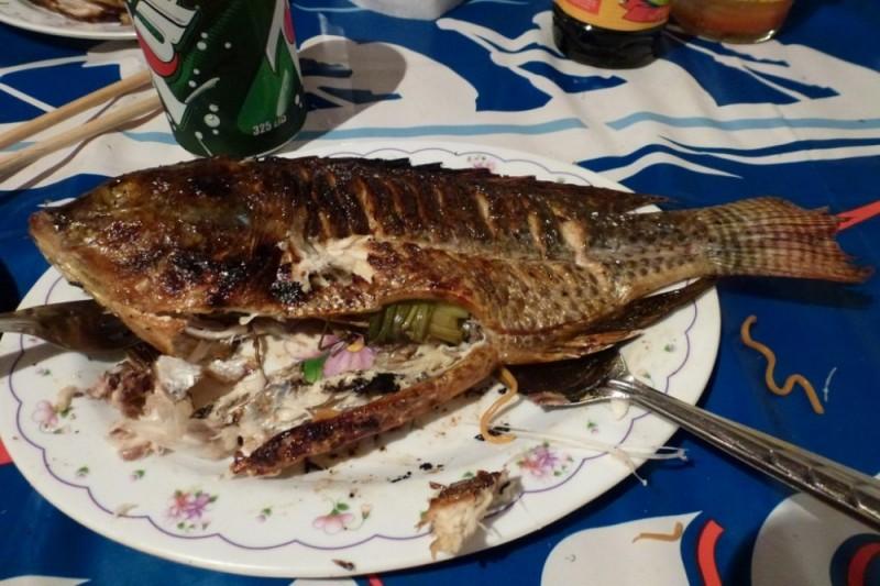 Gegrillter Fisch in Laos